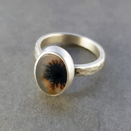 Dendrite agate and silver ring with hammered band