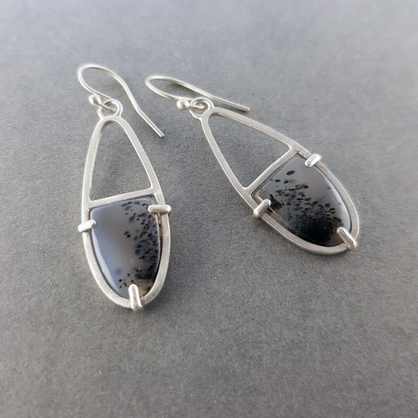 Scandi style prong set River Agate earrings