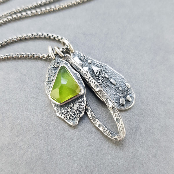Peridot and textured silver pendants