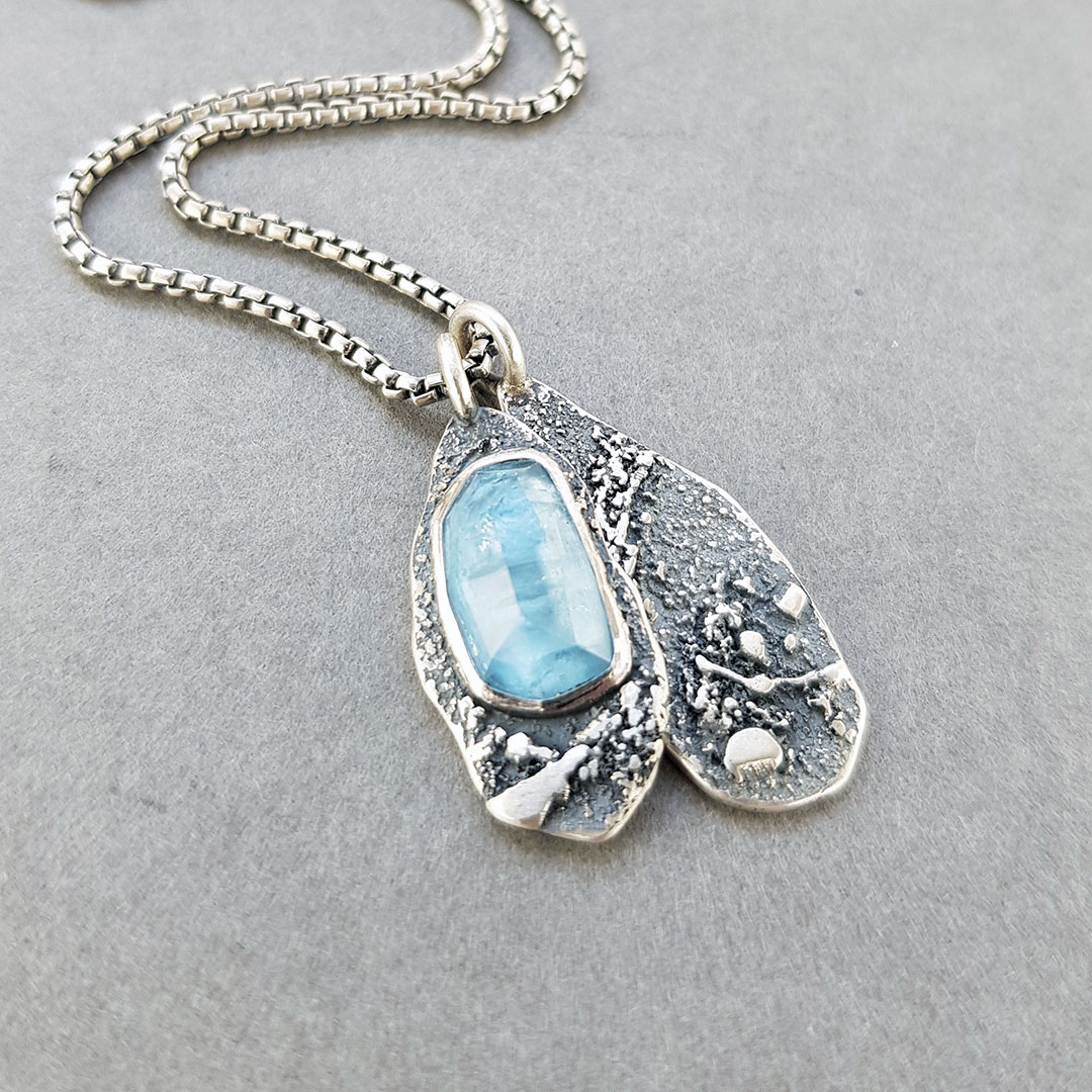 Aquamarine and textured silver Rugged pendants