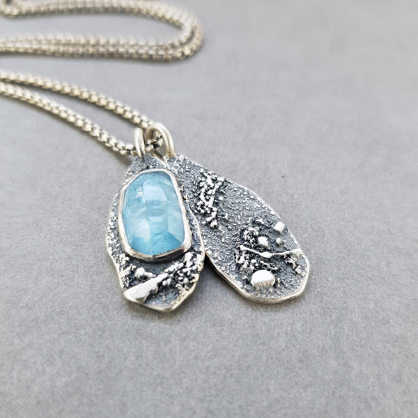 Aquamarine and textured silver Rugged pendants