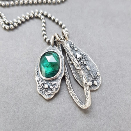 Teal blue Tourmaline and textured silver pendants