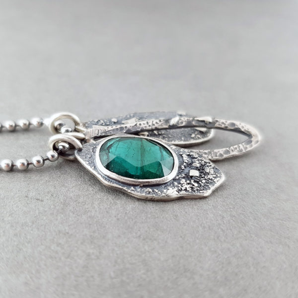 Teal ToTeal blue Tourmaline and textured silver pendantsurmaline and textured silver pendants