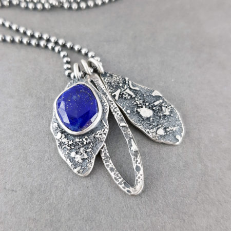 Lapis Lazuli and textured silver pendants