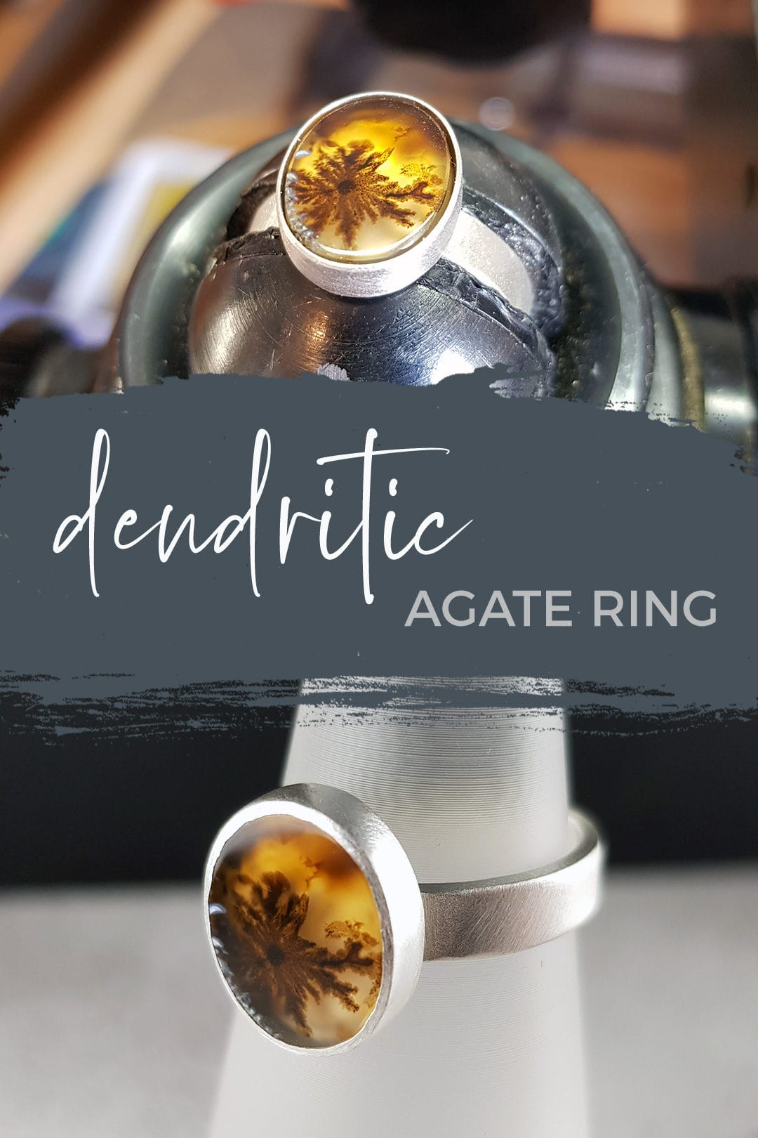 Dendritic agate and brushed silver ring commission made in Cornwall by Carin Lindberg