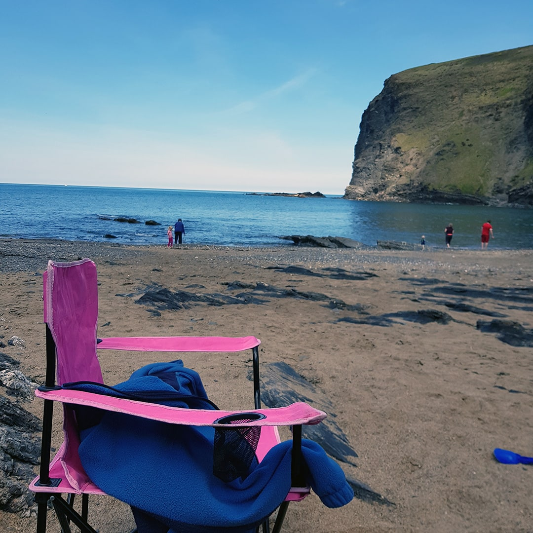 Chilling at Crackington Haven beach, Cornwall