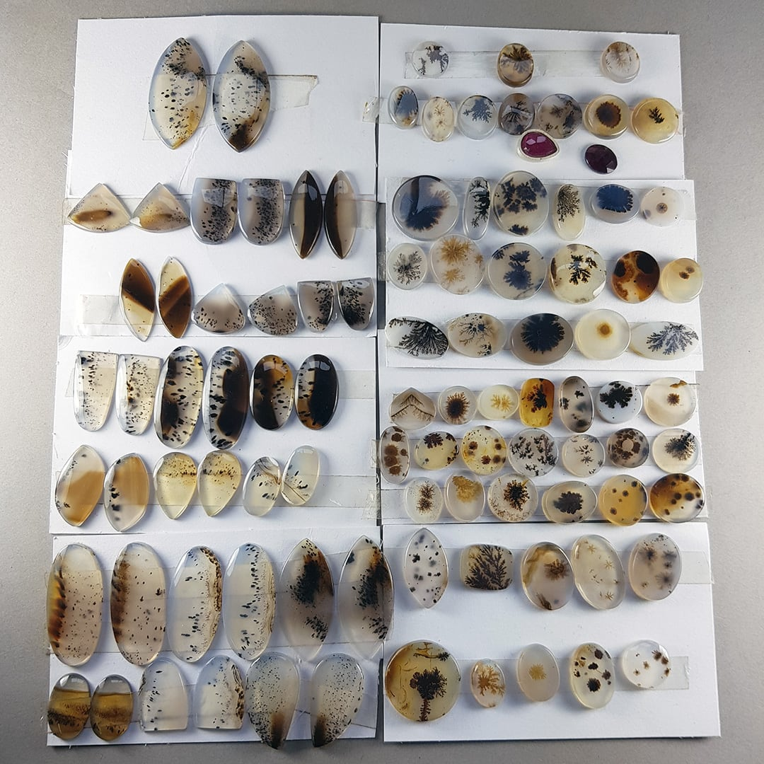 Dendritic agate and river agate stones available for custom jewellery