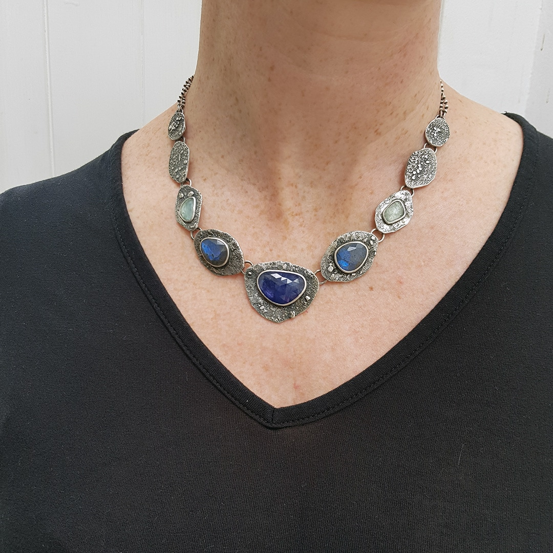 Tanzanite, Labradorite and Aquamarine statement necklace as worn