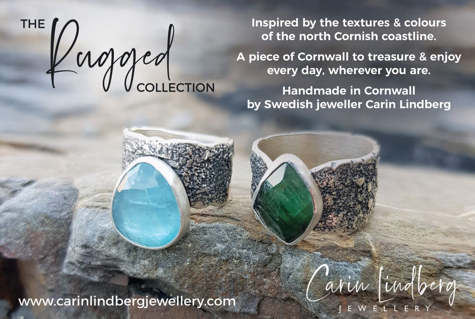 Two one of a kind Rugged collection rings photographed at the beach