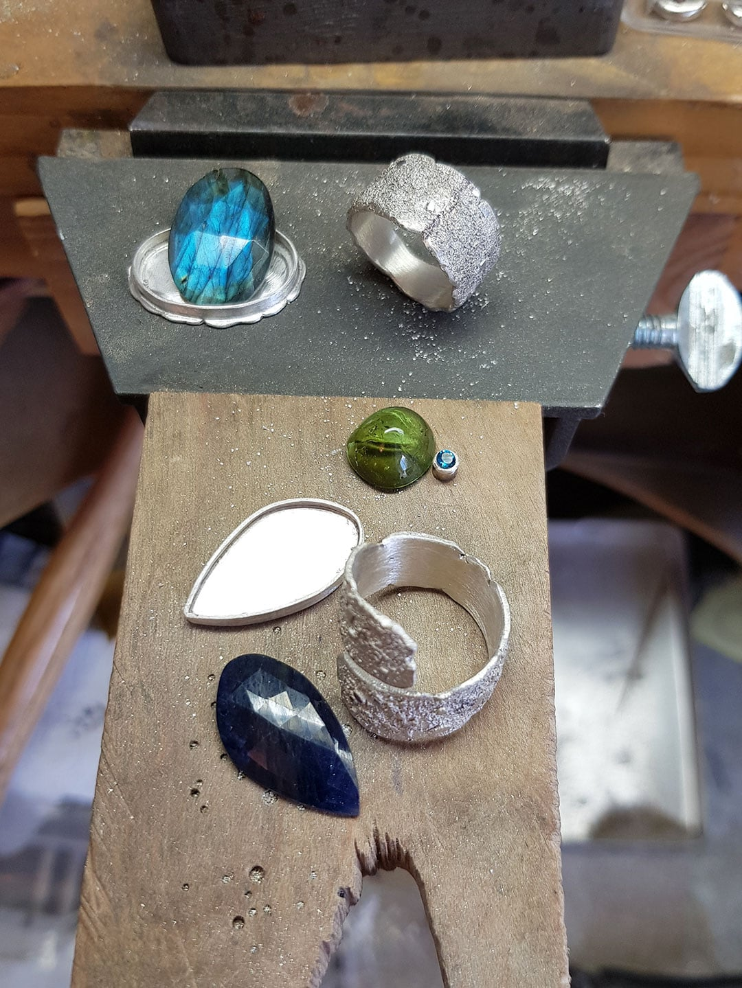 One of a kind gemstone and textured silver rings in progress