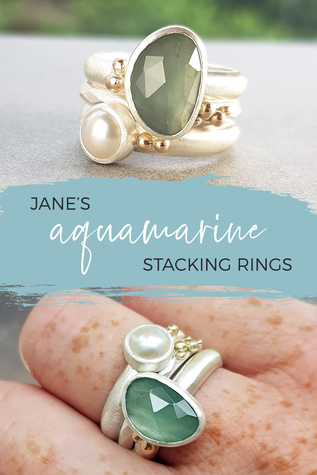 Jane's aquamarine, silver and gold stacking ring commission