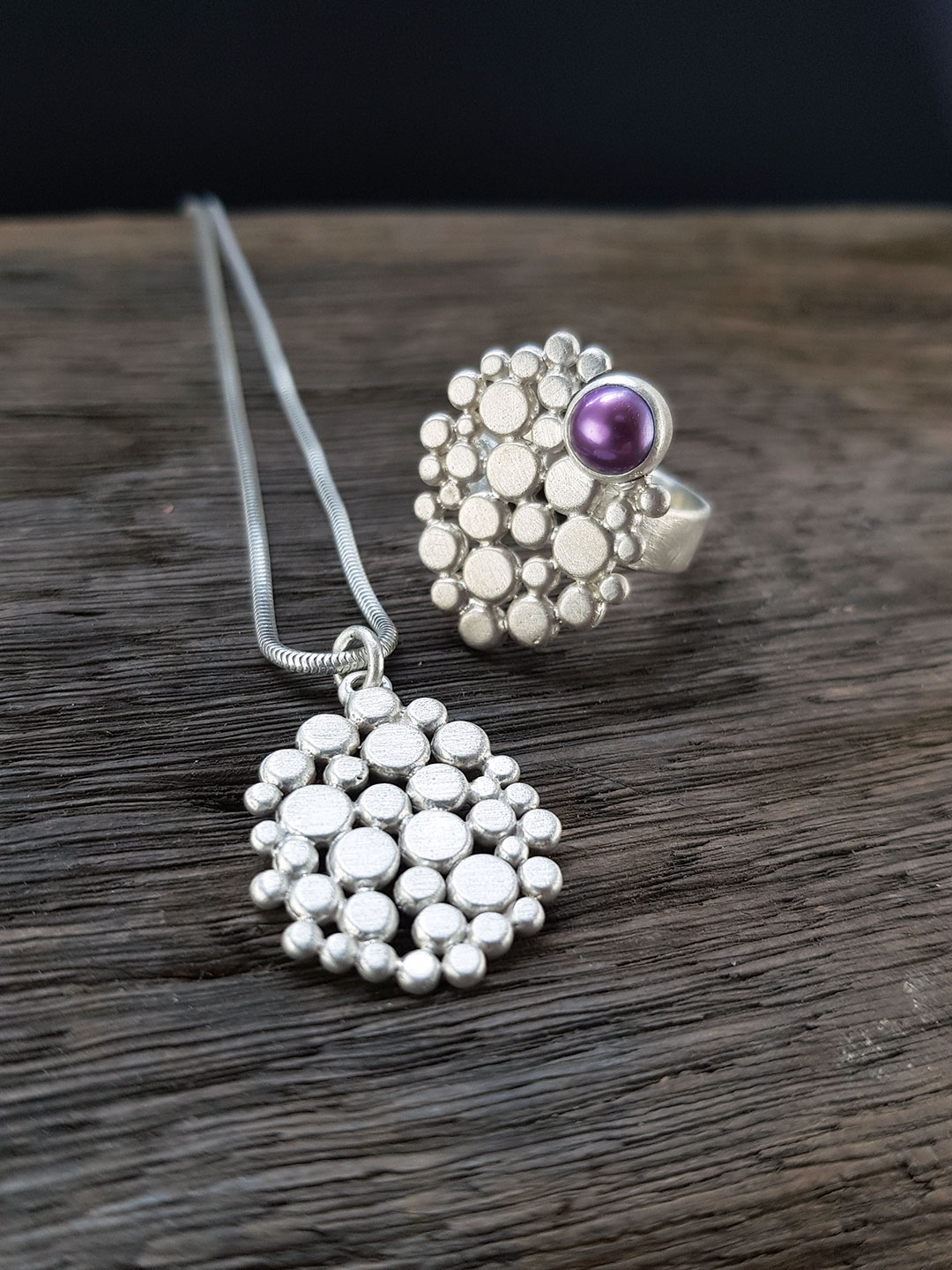 Multi pebble and pearl ring and pendant commission