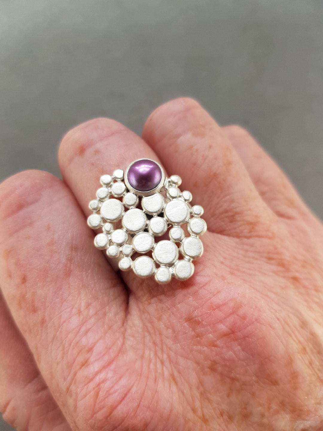 Multi pebble and pearl ring commission on hand