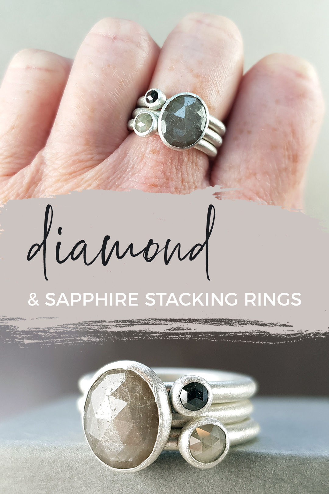 diamond stacking rings with sapphire