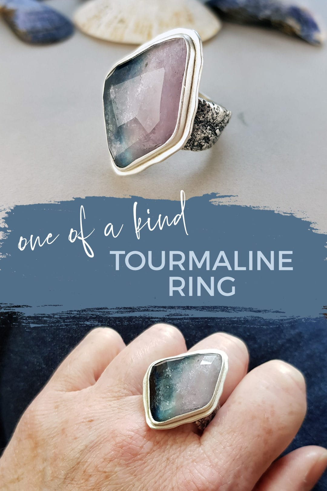 one of a kind tourmaline and textured silver ring