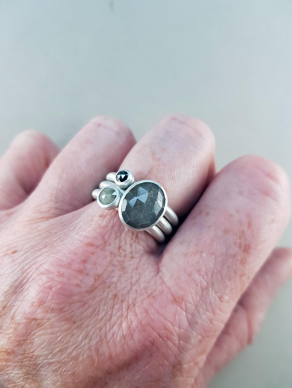 diamond and sapphire ring set