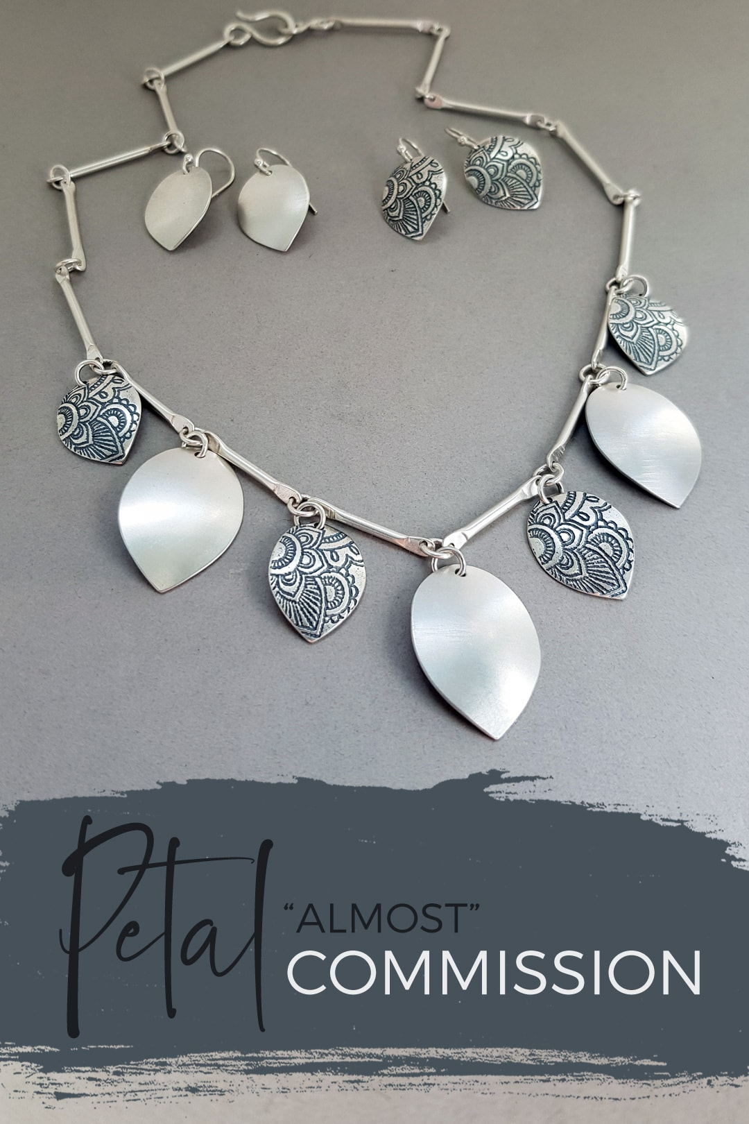 Petal brushed silver necklace commission with Mehndi petals