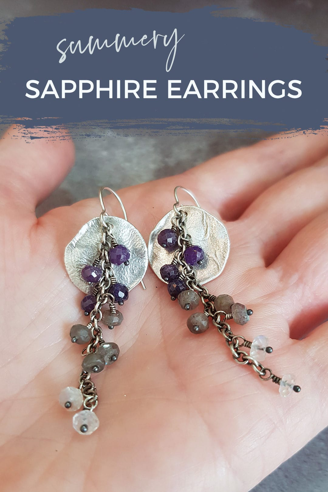 Sapphire and textured silver earrings