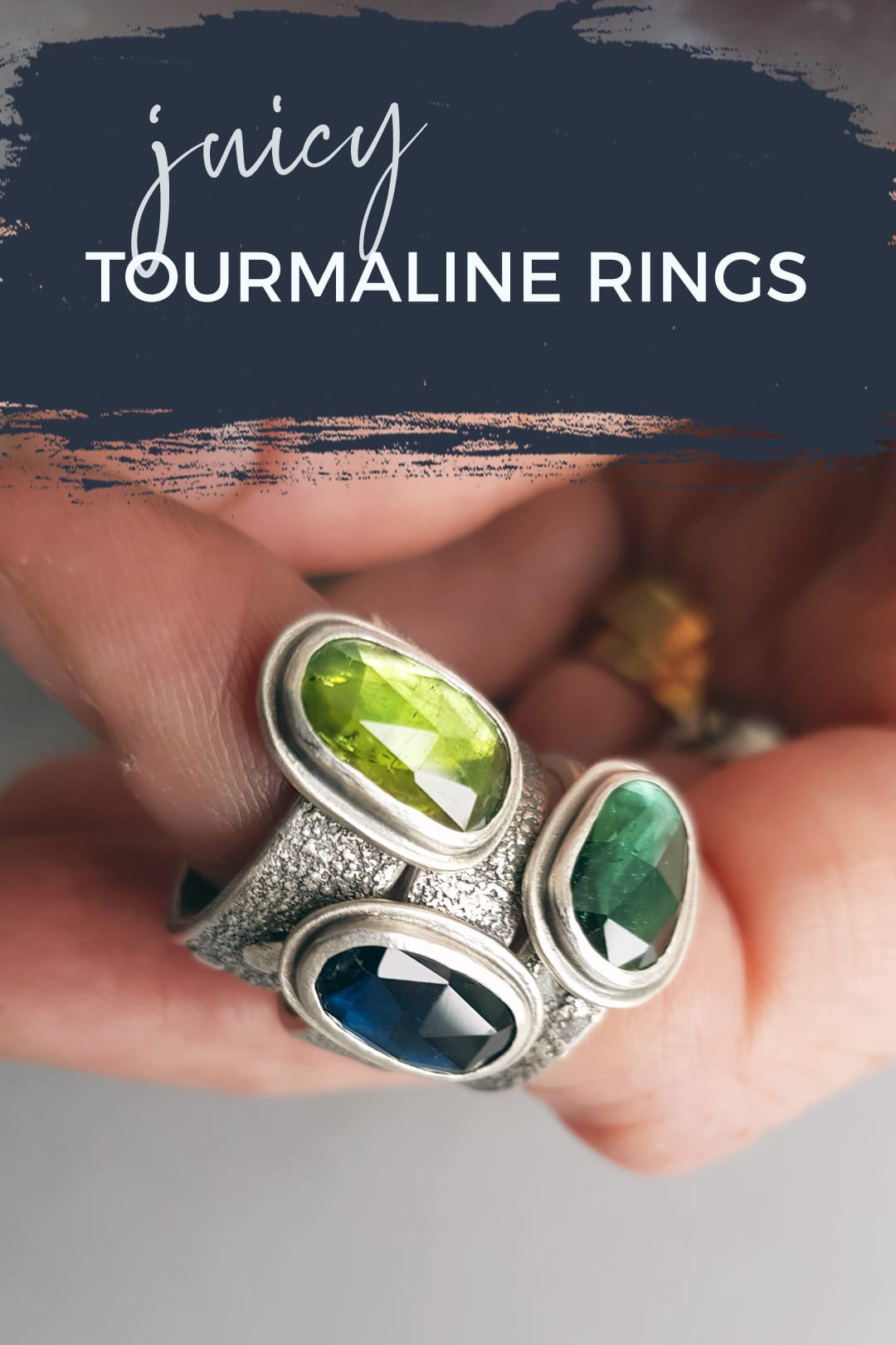 Green and blue tourmaline rings in textured silver