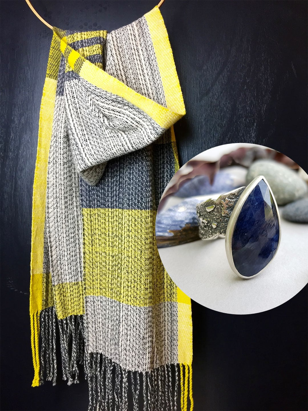 Teresa Dunne handwoven lambswool scarf and my blue sapphire Rugged ring