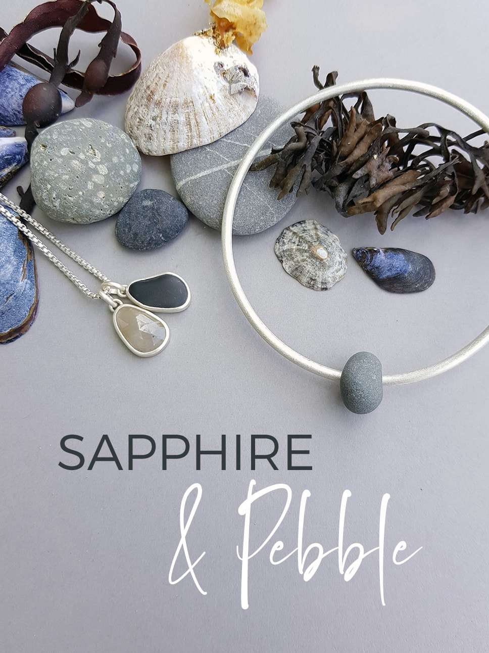 precious sapphire and beach pebble jewellery