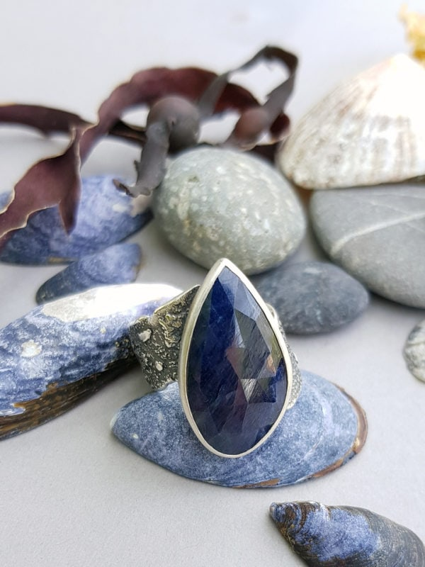 Blue sapphire ring in textured sterling silver