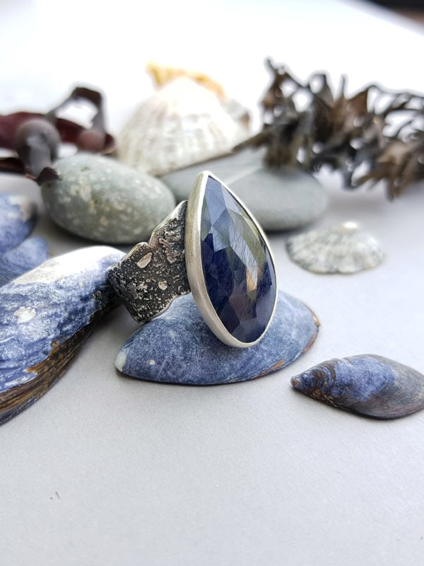 One of a kind blue sapphire ring in textured sterling silver