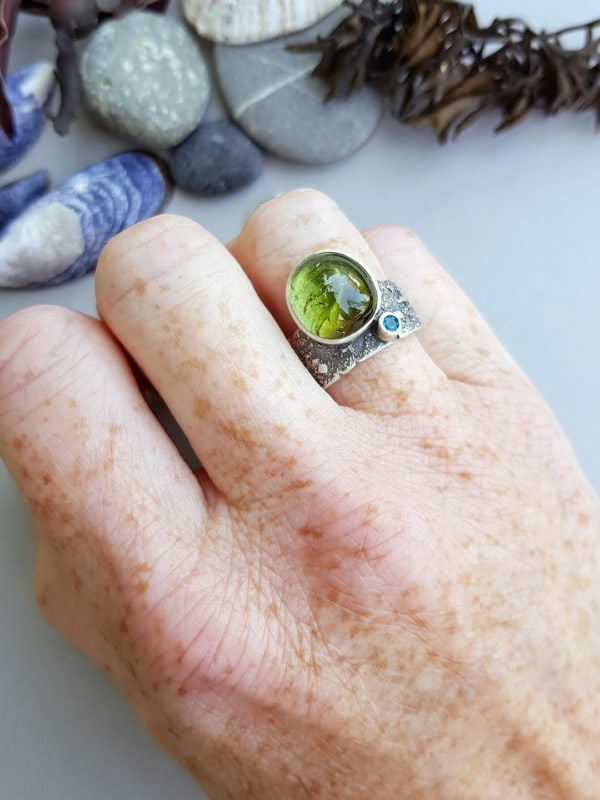 One of a kind ring in sterling silver and green tourmaline