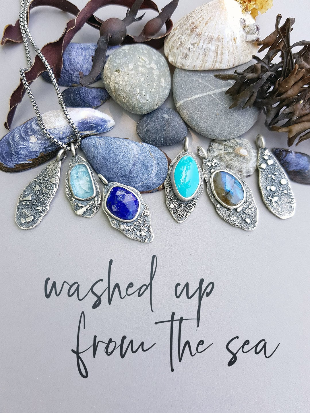 Washed up by the sea, Rugged collection pendants in textured silver and gemstones