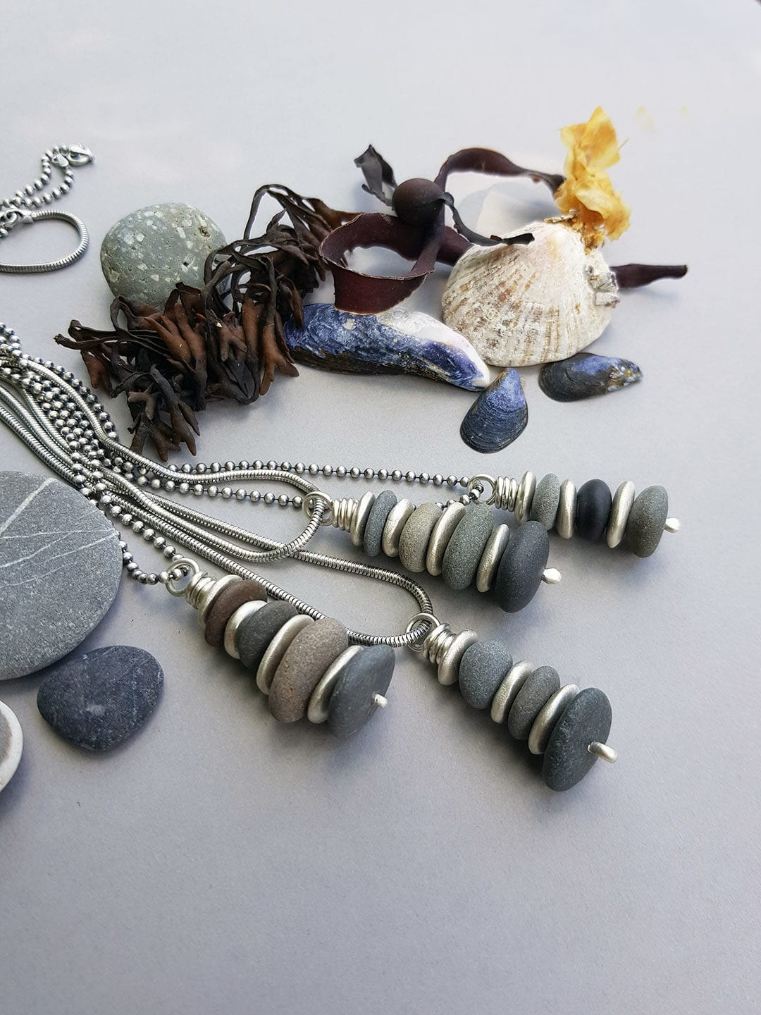 Beach pebble stack pendants