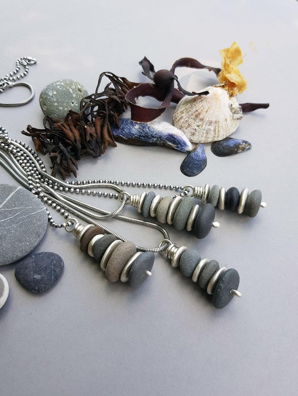Beach pebble stack pendants