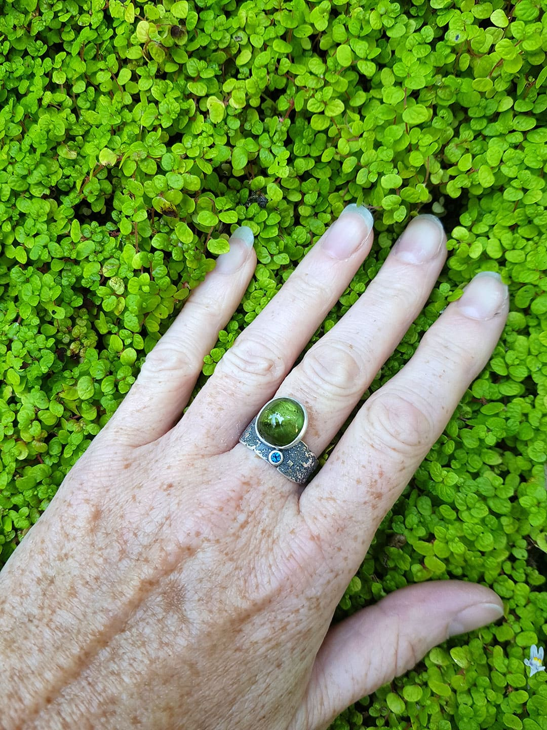 Green tourmaline and textured silver ring, one of a kind