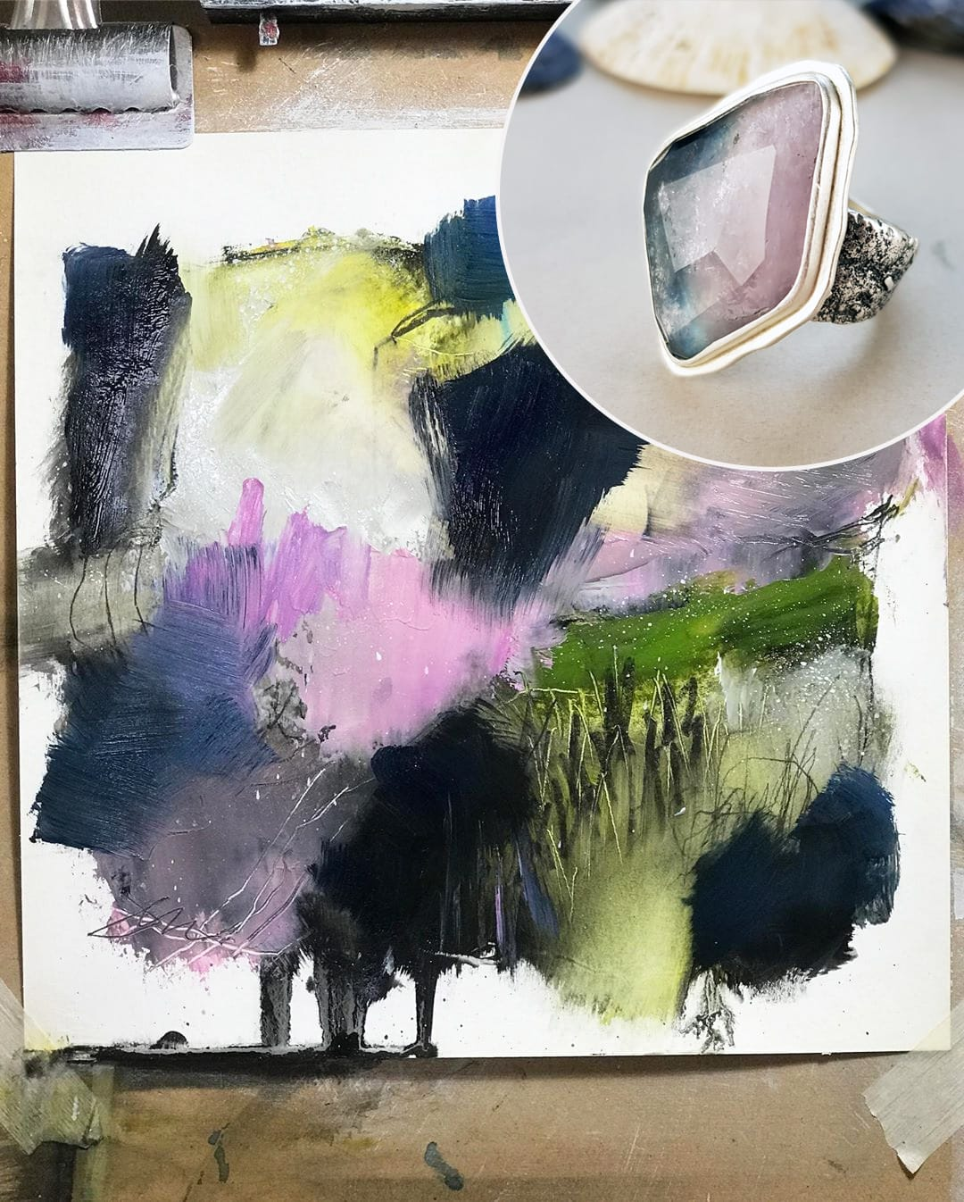 Jen Dixon fine art abstract painting with my pink and blue bi-colour tourmaline rugged ring