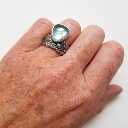 Organic textured silver ring with aquamarine