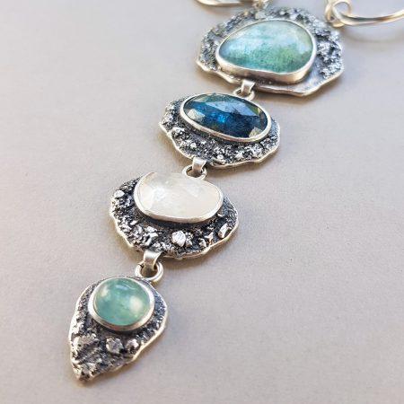 Closeup of blue gemstones in statement necklace