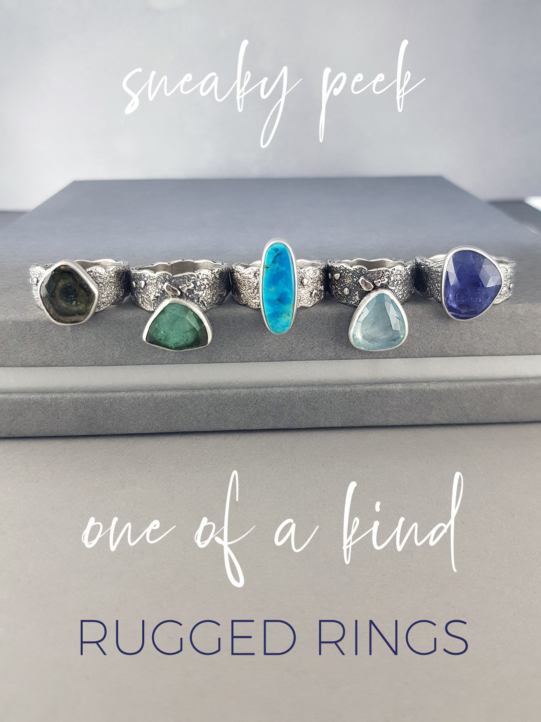 One of a kind gemstone and textured silver rings