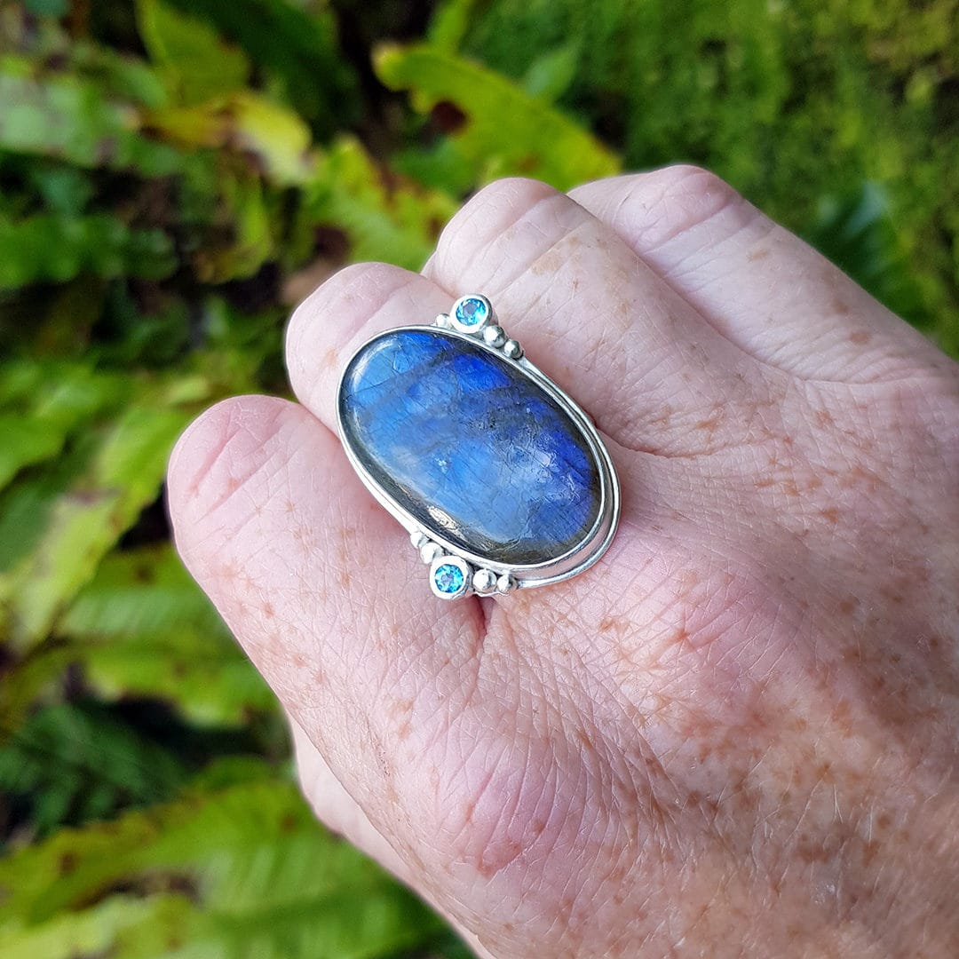 Labradorite and blue topaz ring commission