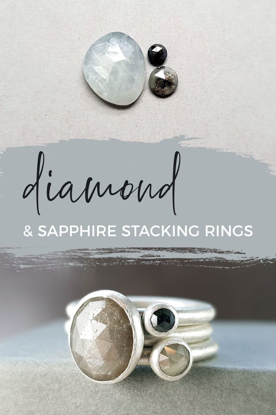 Diamonds and sapphires available for stacking ring orders