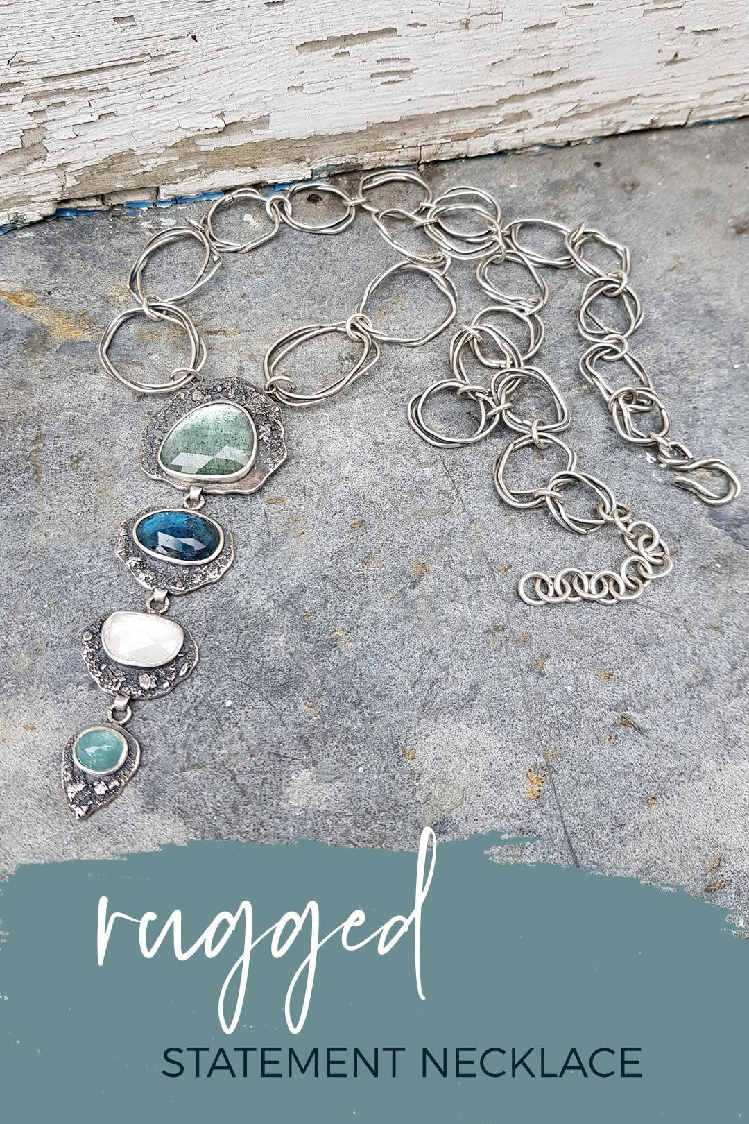 Rugged statement necklace with coastal coloured gemstones and textured silver
