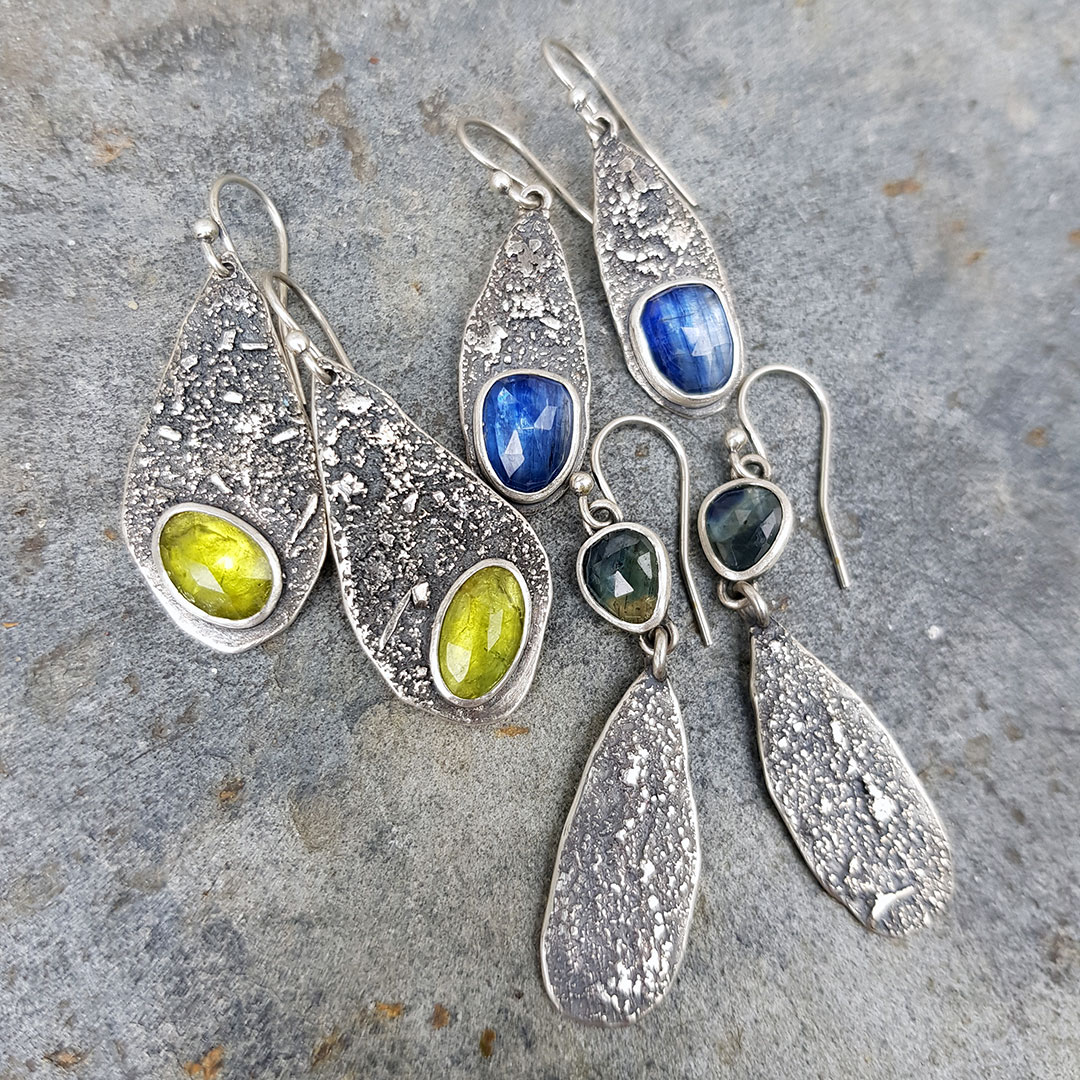 Gemstone and textured silver earrings