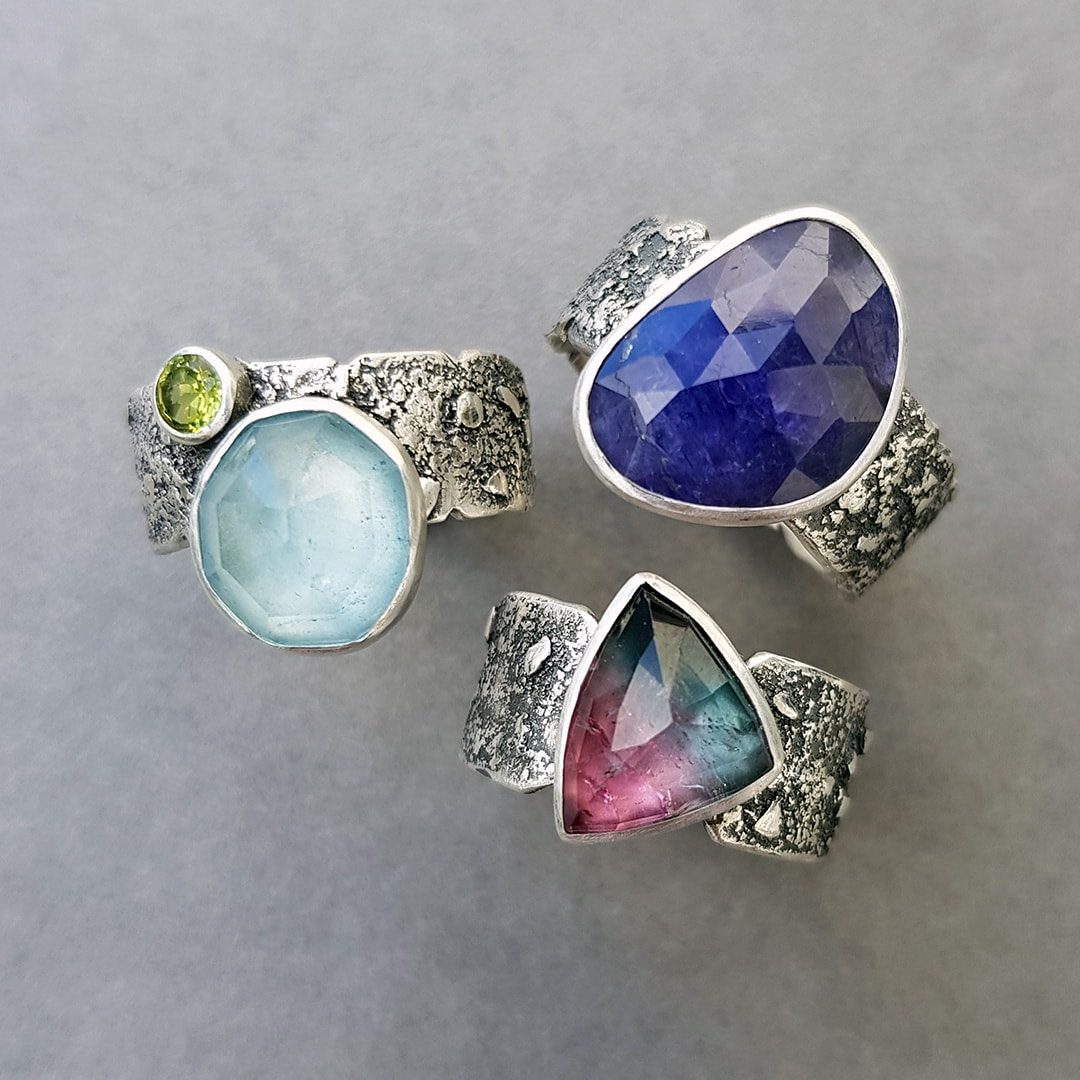 Aquamarine, Tanzanite and Tourmaline rings