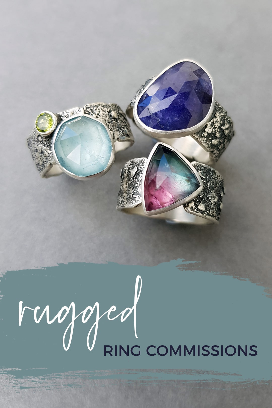Rugged ring commissions; textured silver and gemstones
