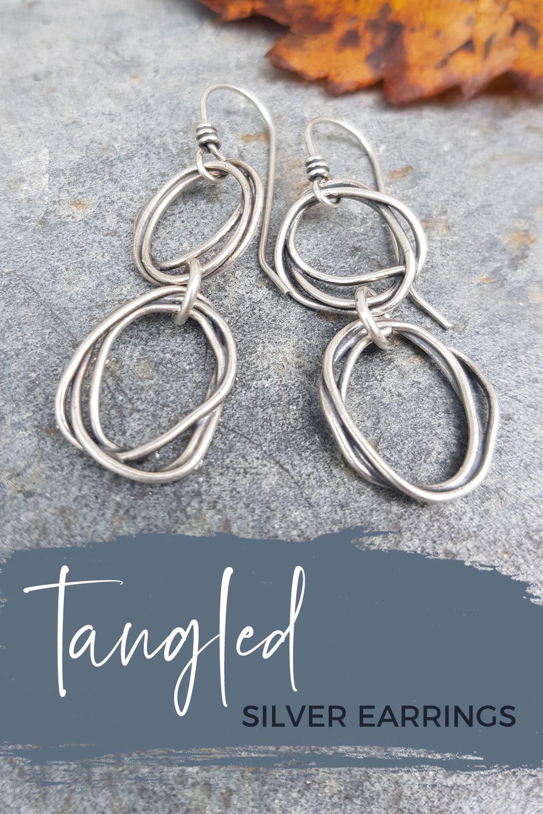Tangled silver earrings