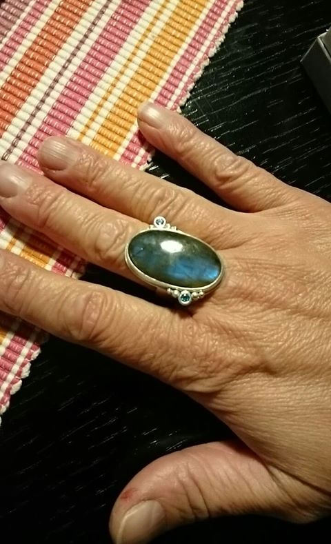 Customer photo of commissioned labradorite ring