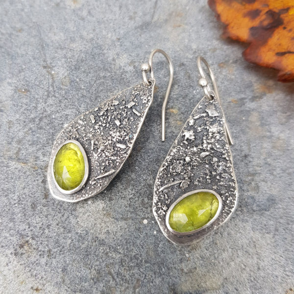 Peridot drop earrings in textured sterling silver