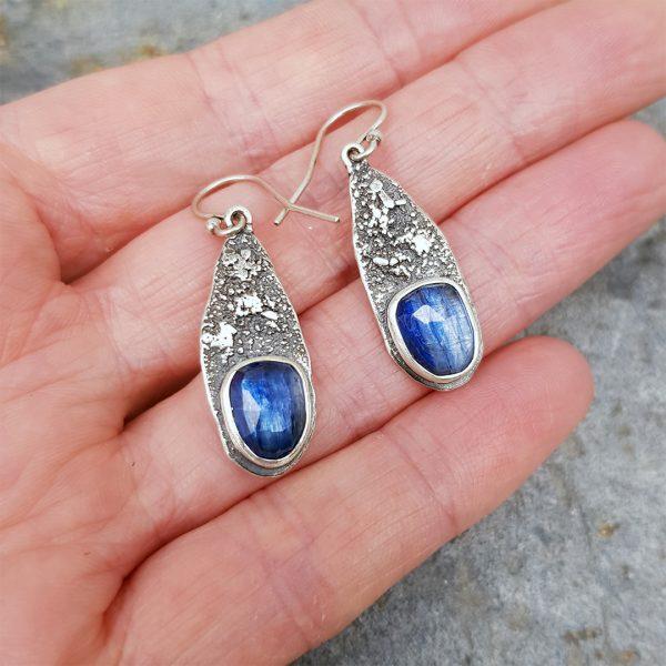Kyanite drop earrings in textured sterling silver