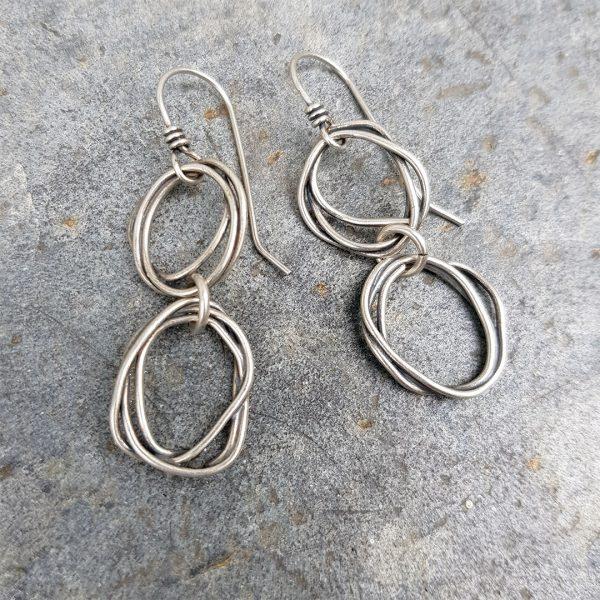 Tangled silver drop earrings