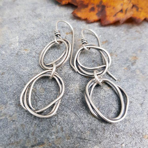 Fused sterling silver drop earrings