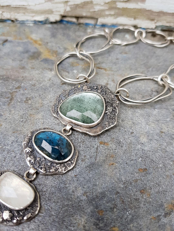 Gemstone and silver statement necklace with aquamarine, kyanite, tourmaline and rainbow moonstone