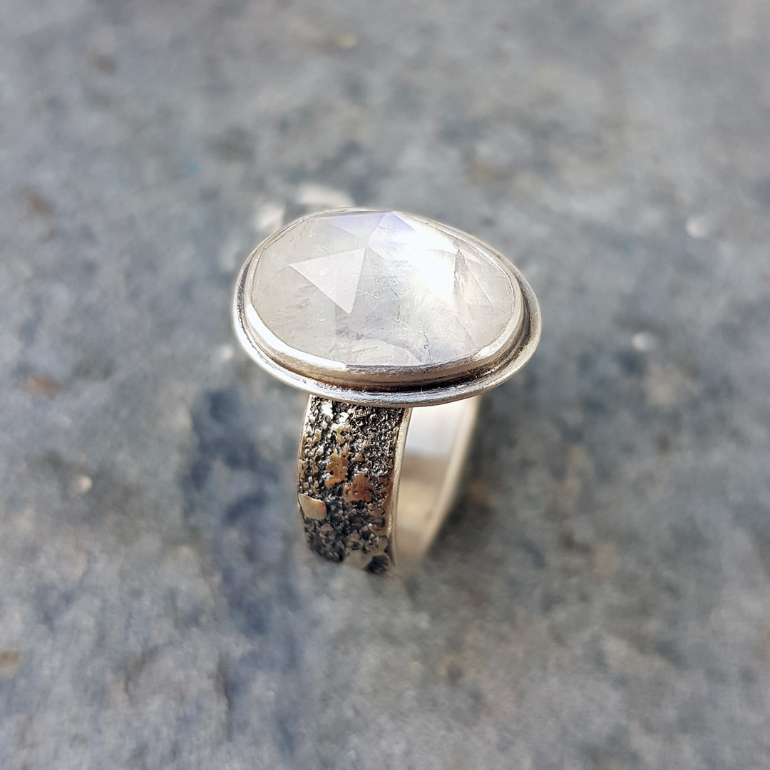 Handmade sterling silver ring with rainbow moonstone
